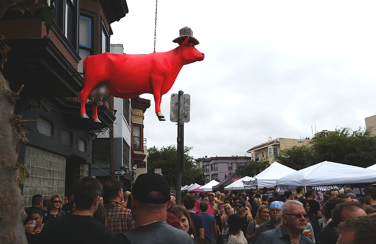 This cow has been hanging over Folsom Street above the